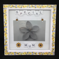 Special Mum scrabble photo frame, with sunflowers.
