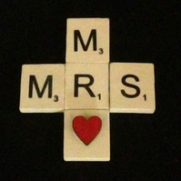 Mr & Mrs scrabble magnet, with hand painted wooden heart.