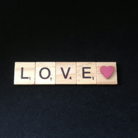 Love,Scrabble magnet with wooden hand painted heart.