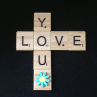 Love you, wooden scrabble magnet with hand painted wooden flower.