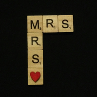 Mrs & Mrs scrabble magnet, with hand painted wooden heart.