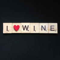 I love wine, scrabble magnet with hand painted wooden heart.