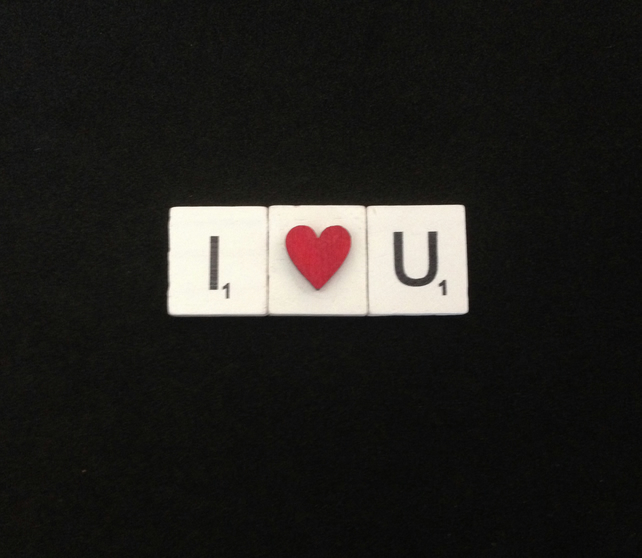 I love you, scrabble magnet with hand painted wooden heart.