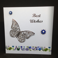 Best wishes,silver butterfly card. With hand painted wooden flowers.