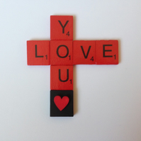 Love you, red wooden scrabble magnet, with a hand painted wooden heart.