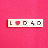 I love dad wooden scrabble magnet with hand painted wooden heart.