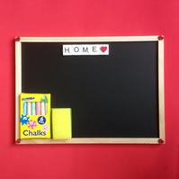 Home blackboard, with scrabble letters & hand painted wooden hearts.