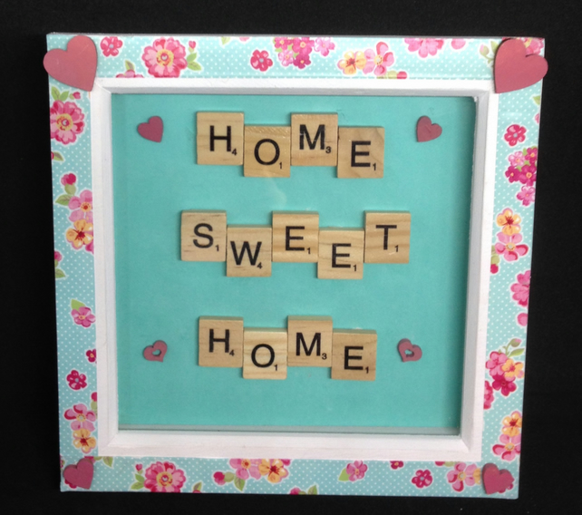 Home,Sweet Home scrabble picture, with hand painted wooden hearts.