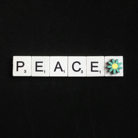 Peace scrabble magnet,With hand painted wooden flower.