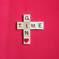 "Scrabble magnet saying ""Gin time"" with a hand painted wooden heart."