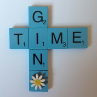 Gin time scrabble magnet with hand painted wooden daisy.