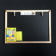 "Blackboard saying ""Home"" with wooden details,Chalks & board rubber."