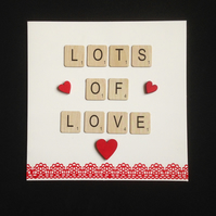 Lots of love scrabble card,with hand painted wooden hearts.