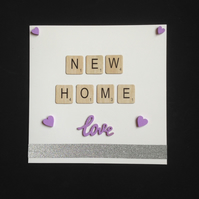 New home scrabble card, with hand painted wooden details.