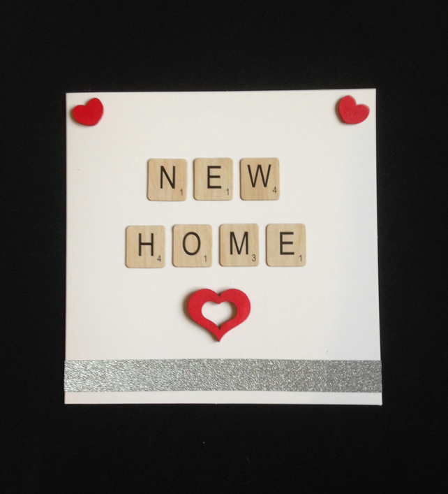 New home scrabble card, with hand painted wooden hearts.