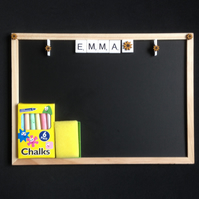 Personalised blackboard with scrabble letters & hand painted wooden sunflowers.