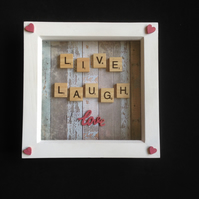 Live, love, laugh scrabble 3D picture, with hand painted wooden details.