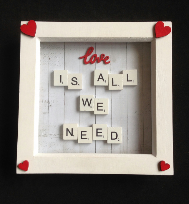 Love is all we need, scrabble picture with hand painted wooden hearts.