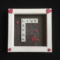Live,laugh,love. Scrabble picture with hand painted wooden hearts.