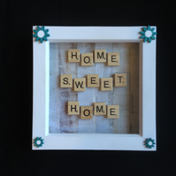 Home,Sweet,Home scrabble picture with hand painted wooden flowers.
