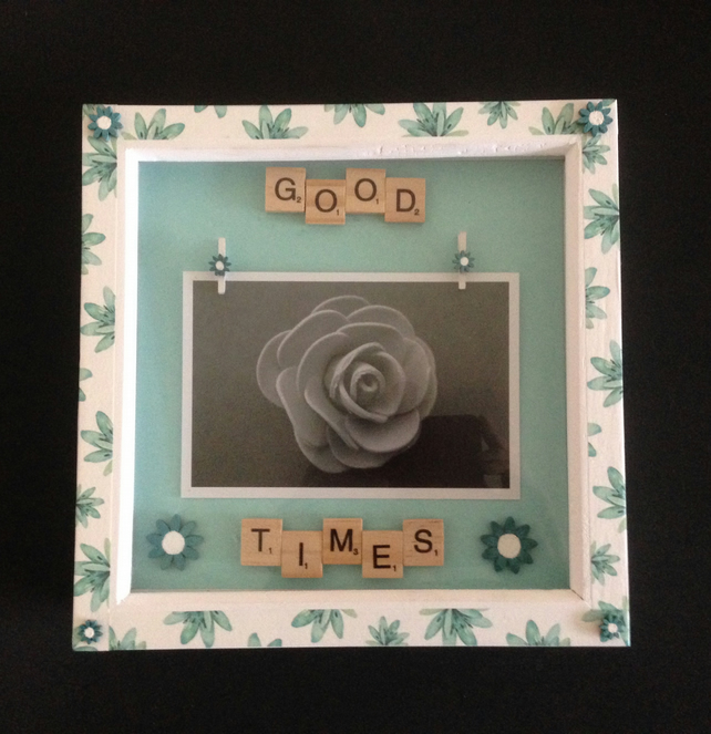 Scrabble photo frame, with wooden pegs to hold a 6x4 inch photo.
