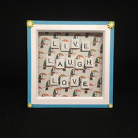 Live,Laugh,Love scrabble picture, with hand painted wooden flowers.