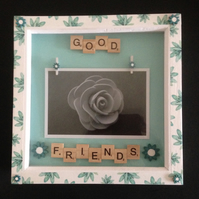 Good friends scrabble photo frame with hand painted wooden flowers.
