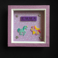Personalised unicorn scrabble picture.