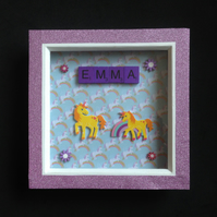 Unicorn personalised scrabble picture.