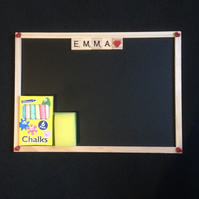 Personalised wooden scrabble letter blackboards.