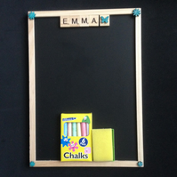 Personalised scrabble blackboard with hand painted wooden details.