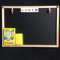 Home scrabble blackboard with hand painted wooden hearts.