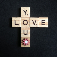 "Wooden scrabble magnet, saying ""Love you"" with a hand painted flower."