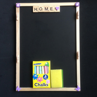 Home, scrabble wall organiser with hand painted wooden details.