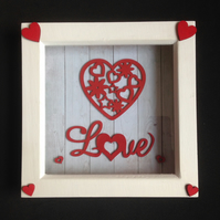 Love 3D picture, with hand painted wooden details.