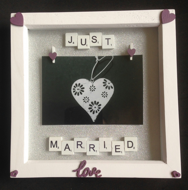 Just married scrabble photo frame. With hand painted wooden hearts.