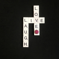 LIve,Laugh,Love scrabble magnet with wooden flower.