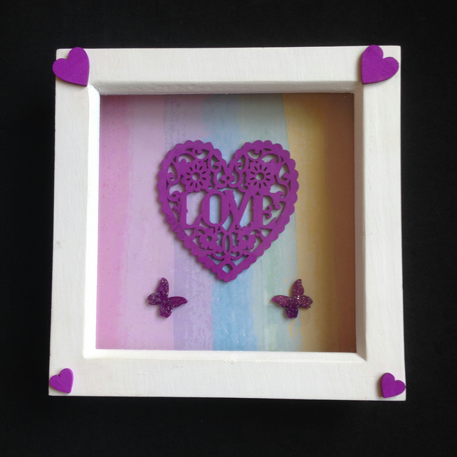 Love 3D picture with hand painted wooden details.