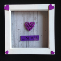 Personalised heart & scrabble 3D picture.