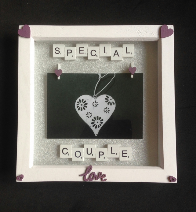 Special couple scrabble photo frame.