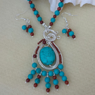 Bohemian Necklace Turquoise (re) and Jasper wire wrapped with earrings Gift Set