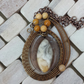 Gemstone and Resin Wire work Pendant Antique Bronze wire wrapped Agate