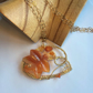 Leaf Gemstone wirework Necklace Gold plated wire wrapped Carnelian