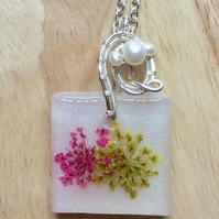 Necklace Flower Pendant Nature Inspired Spring time Resin Wire Wrapped Pendant
