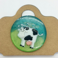 Brooch Cow Scene Badge Resin Fun Gift
