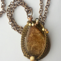Necklace Antique Bronze Pendant Wire wrapped Resin Adjustable length Gift box