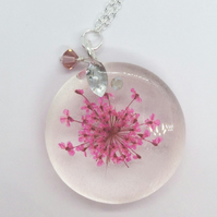 Pendant Flower In Resin Swarovski Crystals  Delicate Necklace Gift