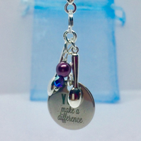 Keyring Fibromyalgia Purple Spoon theory You make a difference Quote Gift