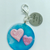 Love Keyring Hearts in Resin Sweet love To Infinity and Beyond tag Valentine
