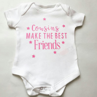 Personalisable Baby Vest Cousins make the best friends